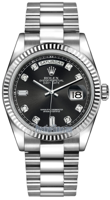 Rolex Day-Date 36mm White Gold Fluted Bezel 118239 Black Diamond President