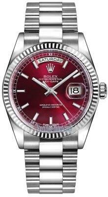 Rolex Day-Date 36mm White Gold Fluted Bezel 118239 Cherry Index President
