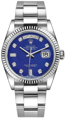Rolex Day-Date 36mm White Gold Fluted Bezel 118239 Lapis Lazuli Diamond Oyster