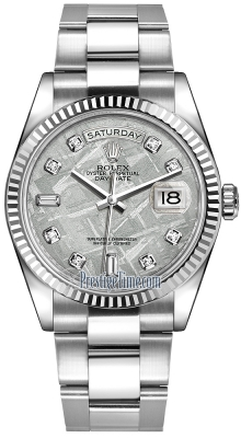 Rolex Day-Date 36mm White Gold Fluted Bezel 118239 Meteorite Diamond Oyster