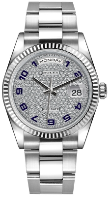 Rolex Day-Date 36mm White Gold Fluted Bezel 118239 Pave Diamond Blue Arabic Oyster