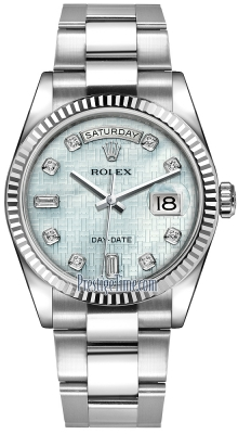 Rolex Day-Date 36mm White Gold Fluted Bezel 118239 Platinum MOP Oxford Diamond Oyster