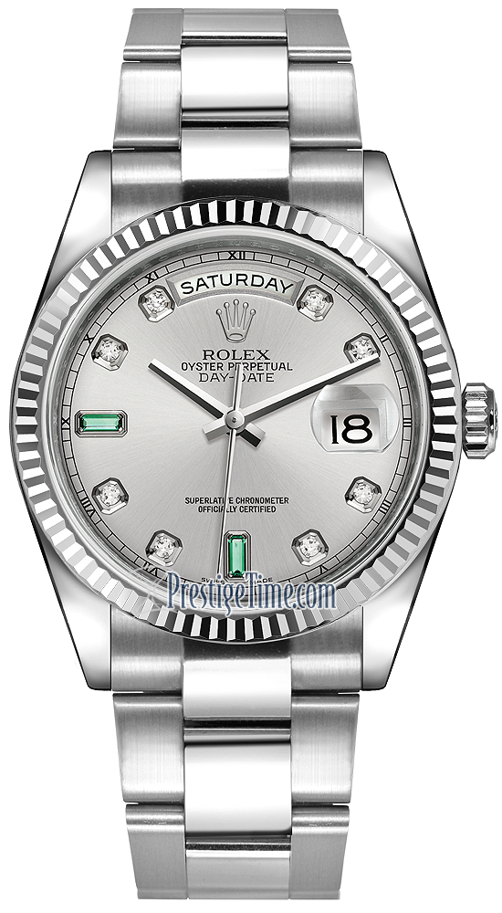 50c2c198c17 Availability. Rolex Day-Date 36mm White Gold Fluted Bezel Midsize Watch  Model Number  118239 Rhodium Diamond Emerald Oyster