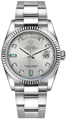 Rolex Day-Date 36mm White Gold Fluted Bezel 118239 Rhodium Diamond Emerald Oyster