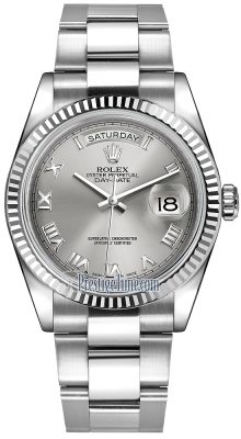Rolex Day-Date 36mm White Gold Fluted Bezel 118239 Rhodium Roman Oyster