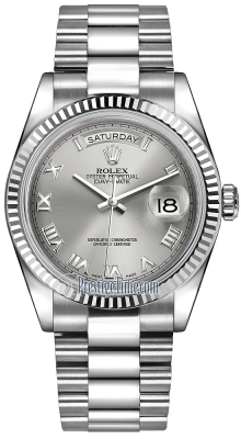 Rolex Day-Date 36mm White Gold Fluted Bezel 118239 Rhodium Roman President