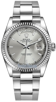 Rolex Day-Date 36mm White Gold Fluted Bezel 118239 Silver Index Oyster