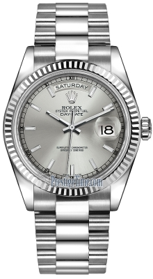 Rolex Day-Date 36mm White Gold Fluted Bezel 118239 Silver Index President