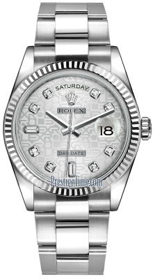 Rolex Day-Date 36mm White Gold Fluted Bezel 118239 Silver Jubilee Diamond Oyster