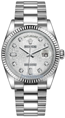 Rolex Day-Date 36mm White Gold Fluted Bezel 118239 Silver Jubilee Diamond President