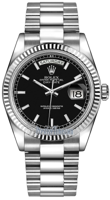 Rolex Day-Date 36mm White Gold Fluted Bezel 118239 Black Index President