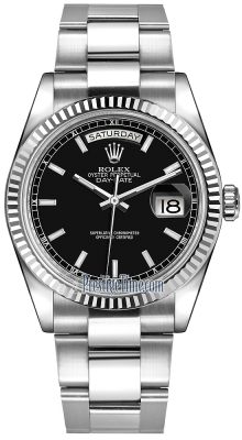 Rolex Day-Date 36mm White Gold Fluted Bezel 118239 Black Index Oyster