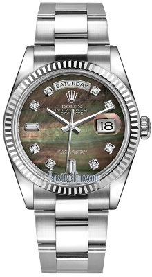 Rolex Day-Date 36mm White Gold Fluted Bezel 118239 Black MOP Diamond Oyster