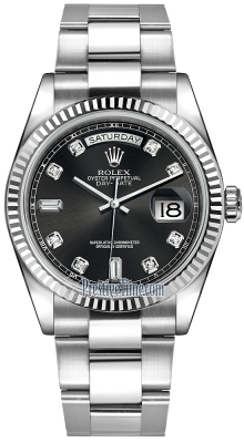 Rolex Day-Date 36mm White Gold Fluted Bezel 118239 Black Diamond Oyster