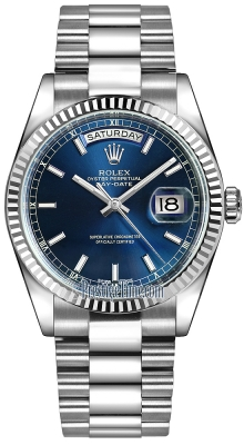 Rolex Day-Date 36mm White Gold Fluted Bezel 118239 Blue Index President
