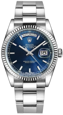 Rolex Day-Date 36mm White Gold Fluted Bezel 118239 Blue Index Oyster