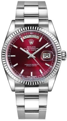 Rolex Day-Date 36mm White Gold Fluted Bezel 118239 Cherry Index Oyster