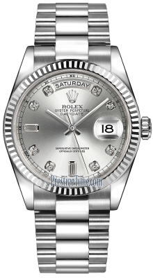 Rolex Day-Date 36mm White Gold Fluted Bezel 118239 Silver Diamond President