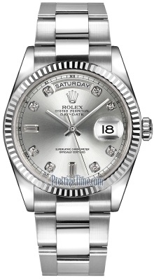 Rolex Day-Date 36mm White Gold Fluted Bezel 118239 Silver Diamond Oyster