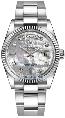 Rolex Day-Date 36mm White Gold Fluted Bezel 118239 White MOP Diamond Oyster