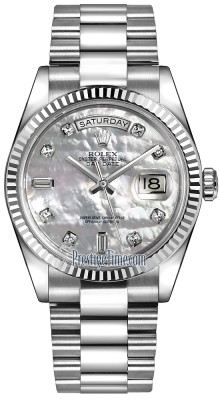 Rolex Day-Date 36mm White Gold Fluted Bezel 118239 White MOP Diamond President