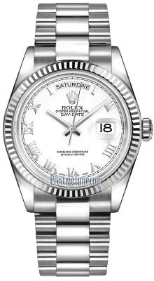 Rolex Day-Date 36mm White Gold Fluted Bezel 118239 White Roman President