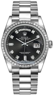 Rolex Day-Date 36mm Platinum Diamond Bezel 118346 Black Diamond President