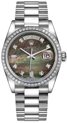Rolex Day-Date 36mm Platinum Diamond Bezel 118346 Black MOP Diamond President