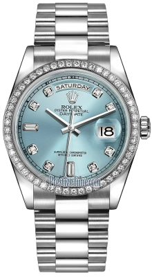 Rolex Day-Date 36mm Platinum Diamond Bezel 118346 Ice Blue Diamond President