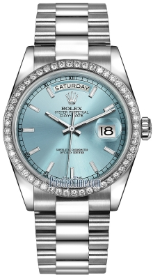 Rolex Day-Date 36mm Platinum Diamond Bezel 118346 Ice Blue Index President