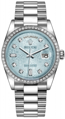 Rolex Day-Date 36mm Platinum Diamond Bezel 118346 Ice Blue Jubilee Diamond President