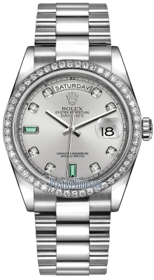 Rolex Day-Date 36mm Platinum Diamond Bezel 118346 Rhodium Diamond Emerald President