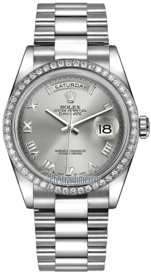 Rolex Day-Date 36mm Platinum Diamond Bezel 118346 Rhodium Roman President