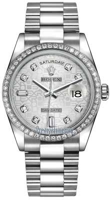 Rolex Day-Date 36mm Platinum Diamond Bezel 118346 Silver Jubilee Diamond President