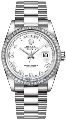 Rolex Day-Date 36mm Platinum Diamond Bezel 118346 White Roman President