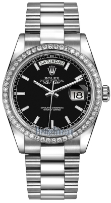 Rolex Day-Date 36mm Platinum Diamond Bezel 118346 Black Index President