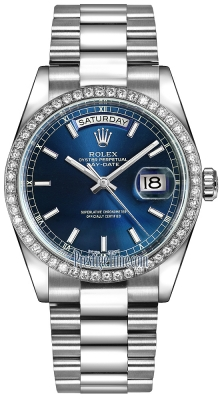 Rolex Day-Date 36mm Platinum Diamond Bezel 118346 Blue Index President