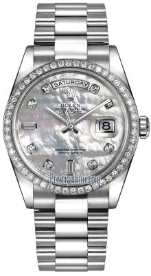 Rolex Day-Date 36mm Platinum Diamond Bezel 118346 White MOP Diamond President