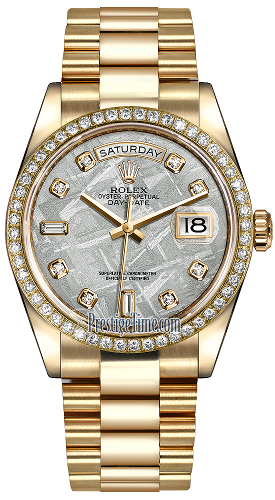 Rolex Day,Date 36mm Yellow Gold Diamond Bezel 118348 Meteorite Diamond  President