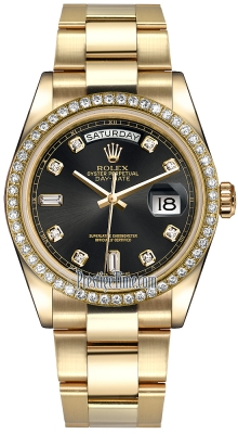 Rolex Day-Date 36mm Yellow Gold Diamond Bezel 118348 Black Diamond Oyster