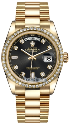 Rolex Day-Date 36mm Yellow Gold Diamond Bezel 118348 Black Diamond President