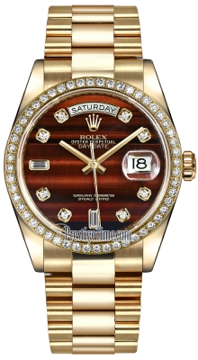 Rolex Day-Date 36mm Yellow Gold Diamond Bezel 118348 Bulls Eye Diamond President