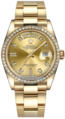 Rolex Day-Date 36mm Yellow Gold Diamond Bezel 118348 Champagne Diamond Oyster