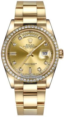Rolex Day-Date 36mm Yellow Gold Diamond Bezel 118348 Champagne Diamond Oyster