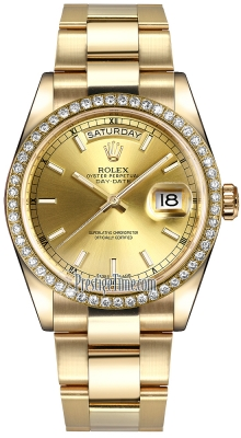 Rolex Day-Date 36mm Yellow Gold Diamond Bezel 118348 Champagne Index Oyster