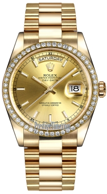 Rolex Day-Date 36mm Yellow Gold Diamond Bezel 118348 Champagne Index President