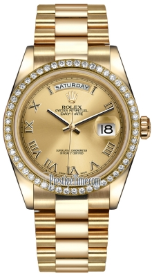 Rolex Day-Date 36mm Yellow Gold Diamond Bezel 118348 Champagne Roman President