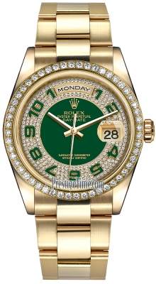 Rolex Day-Date 36mm Yellow Gold Diamond Bezel 118348 Green Pave Diamond Arabic Oyster
