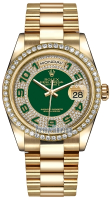 Rolex Day-Date 36mm Yellow Gold Diamond Bezel 118348 Green Pave Diamond Arabic President