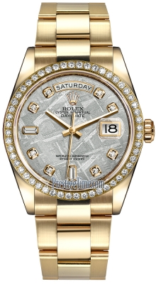 Rolex Day-Date 36mm Yellow Gold Diamond Bezel 118348 Meteorite Diamond Oyster